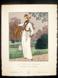 Gazette du Bon Ton by Brissaud 1914 Art Deco Pochoir. En Tenue de Parade